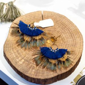 Boucles d'oreilles plume créatrice rennes cadeau de noel