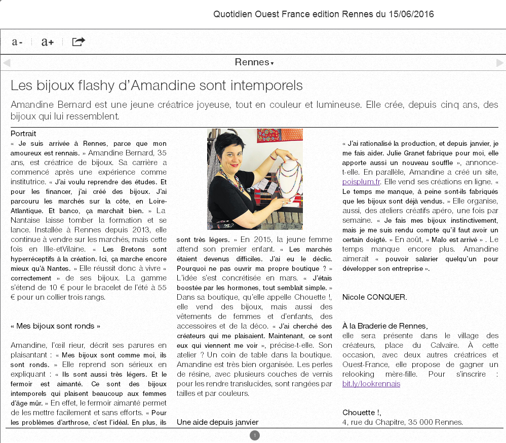 Ouest France presse boutique de créateurs Chouette à Rennes