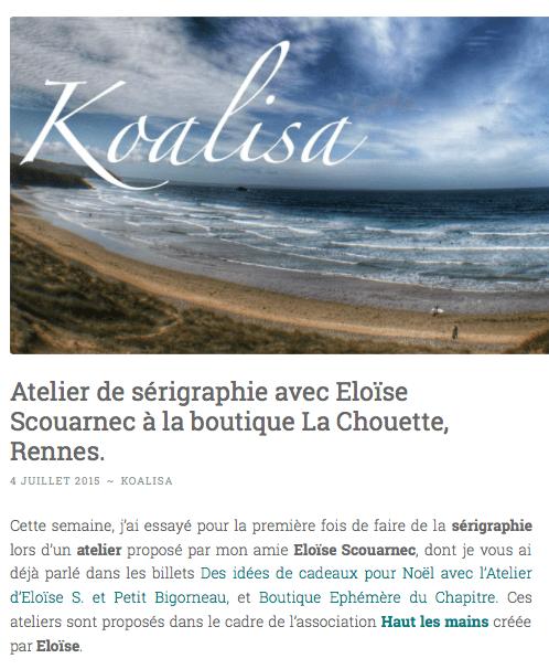 Blog Koalisa presse boutique de créateurs Chouette à Rennes