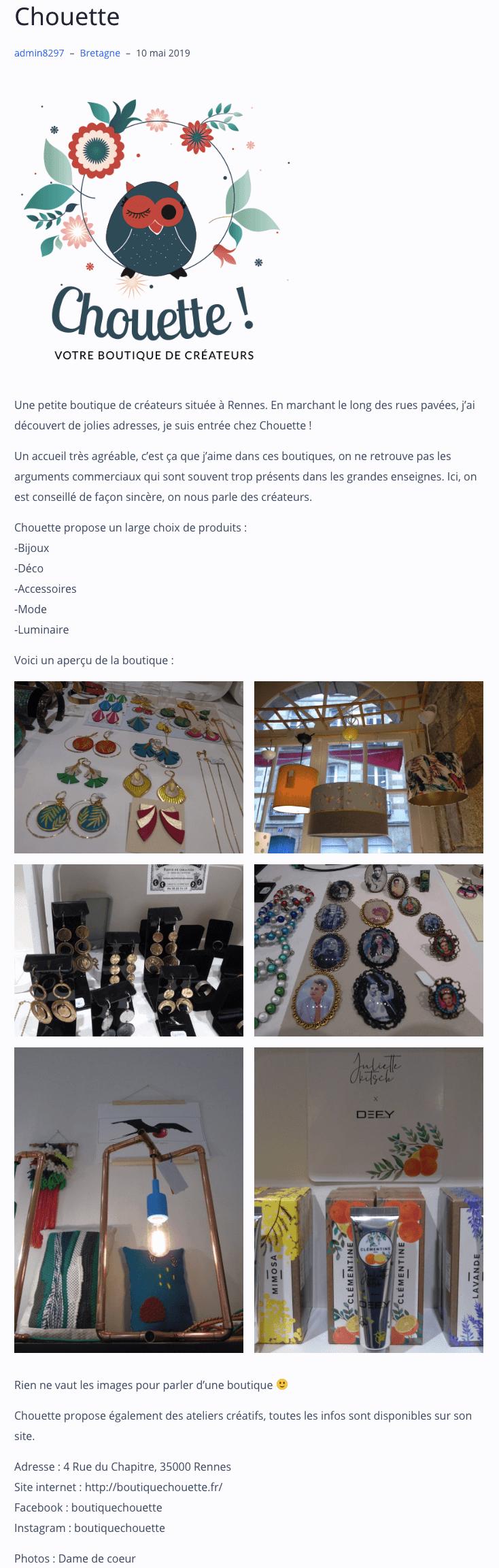 ptitebretonne.com, blog boutique chouette Rennes