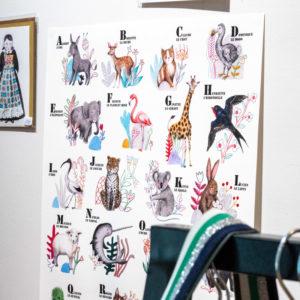 abécédaire animaux affiche rennes cadeau de noel